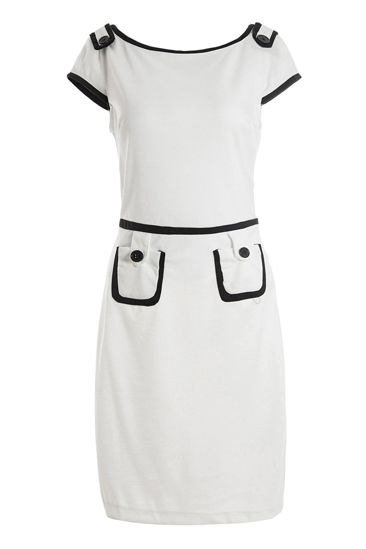 Retro Style Polyester Skinny Short Sleeves Color Block Women's Dress - WHITE M
