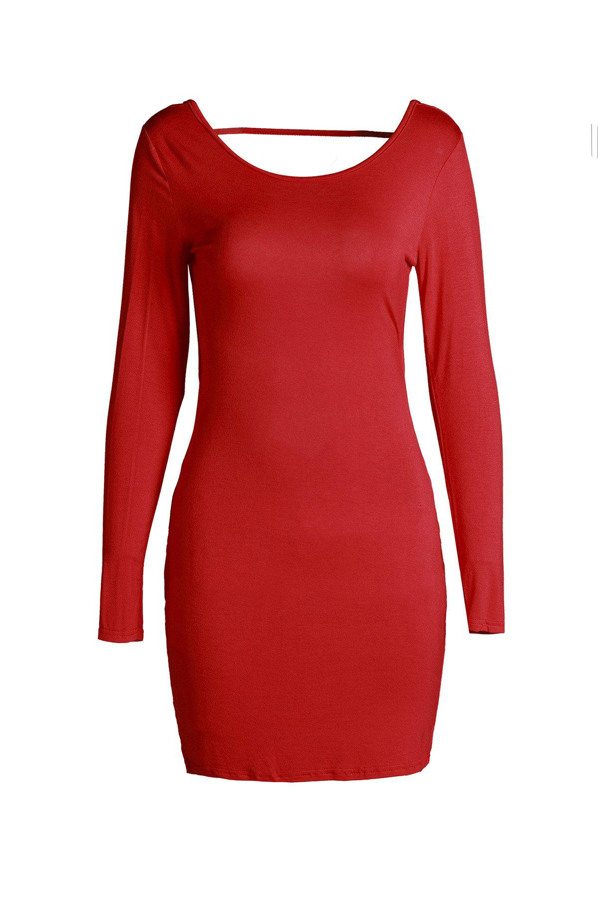 Sexy Long Sleeve Bodycon Red Backless Dress For Women - RED S