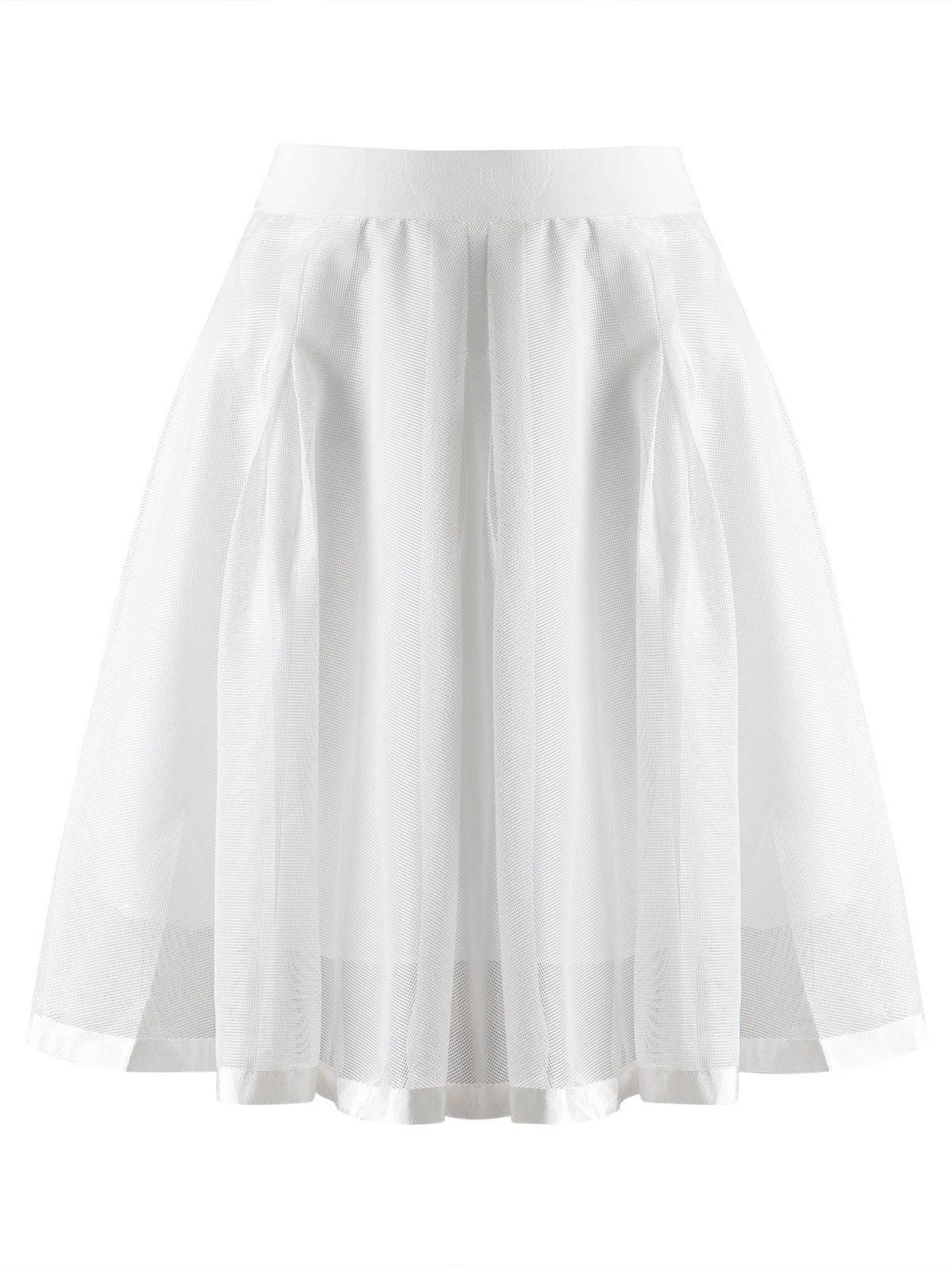 Stylish Women's Voile Solid Color Zipper Fly Bud Skirt - WHITE M