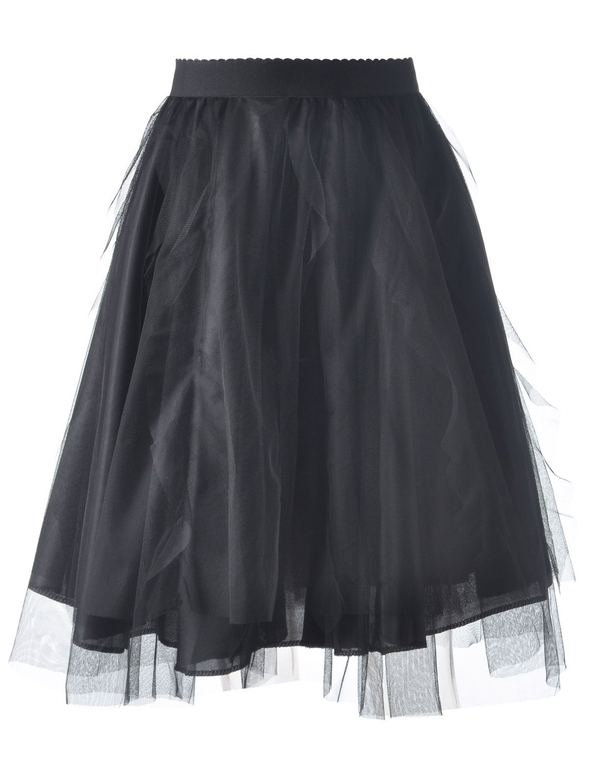 Stylish Women's Voile Solid Color Simple Bud Skirt - BLACK ONE SIZE(FIT SIZE XS TO M)