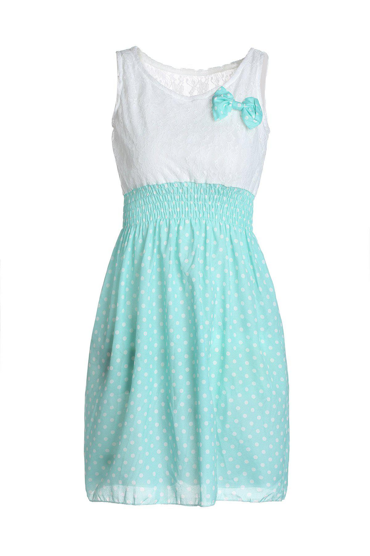 New Korean Fashion Style Polka Dot Sweet Lovely Mini Dress Orange/Green Lace Top - LIGHT GREEN ONE SIZE