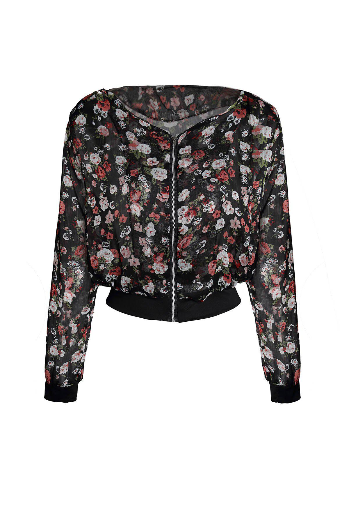 Women's Fashionable Floral Print Shoulder Pad Zipper Long Sleeves Chiffon Coat - BLACK ONE SIZE