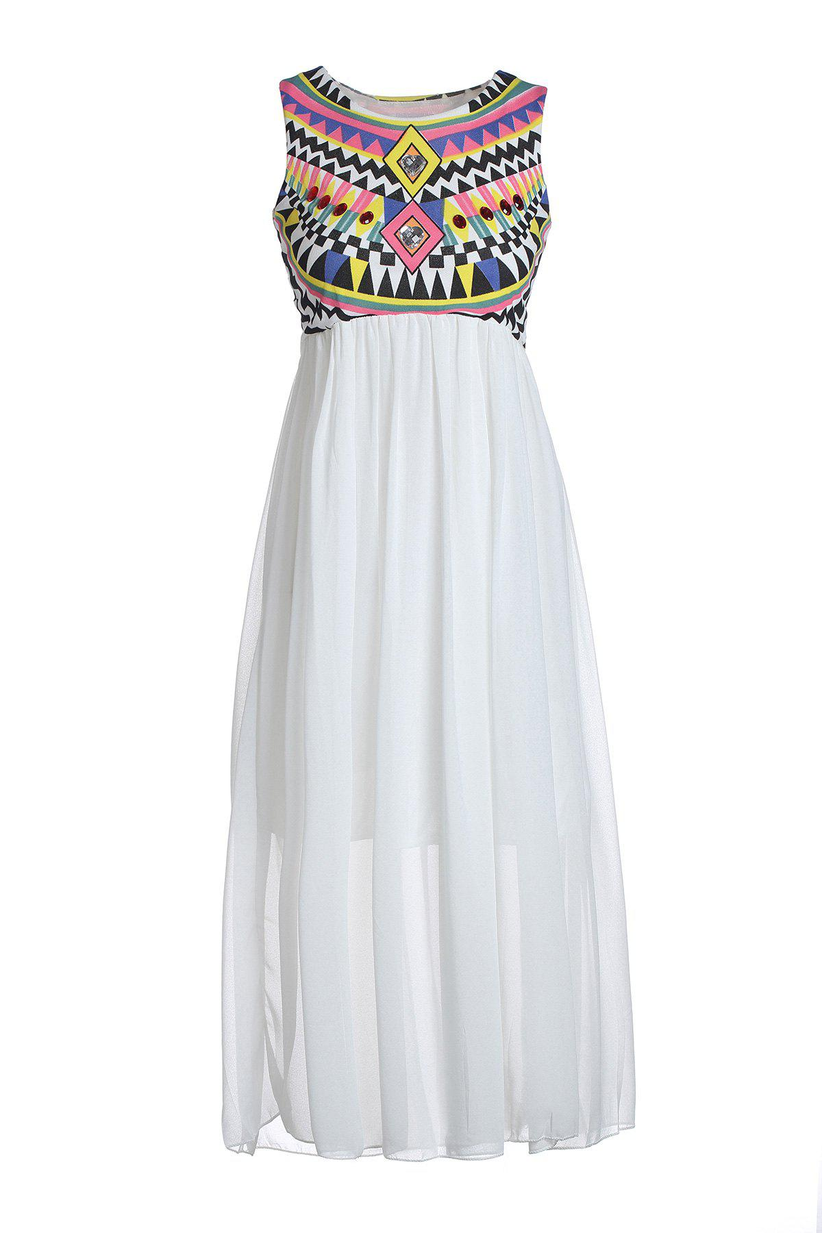Special Print Bohemian Style Chiffon Ruffled Scoop Neck Sleeveless Women's Maxi Dress - WHITE ONE SIZE