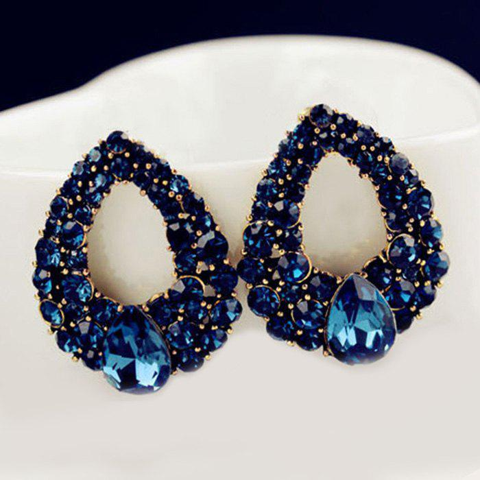 Water Drop Fake Crystal Openwork Earrings - BLUE