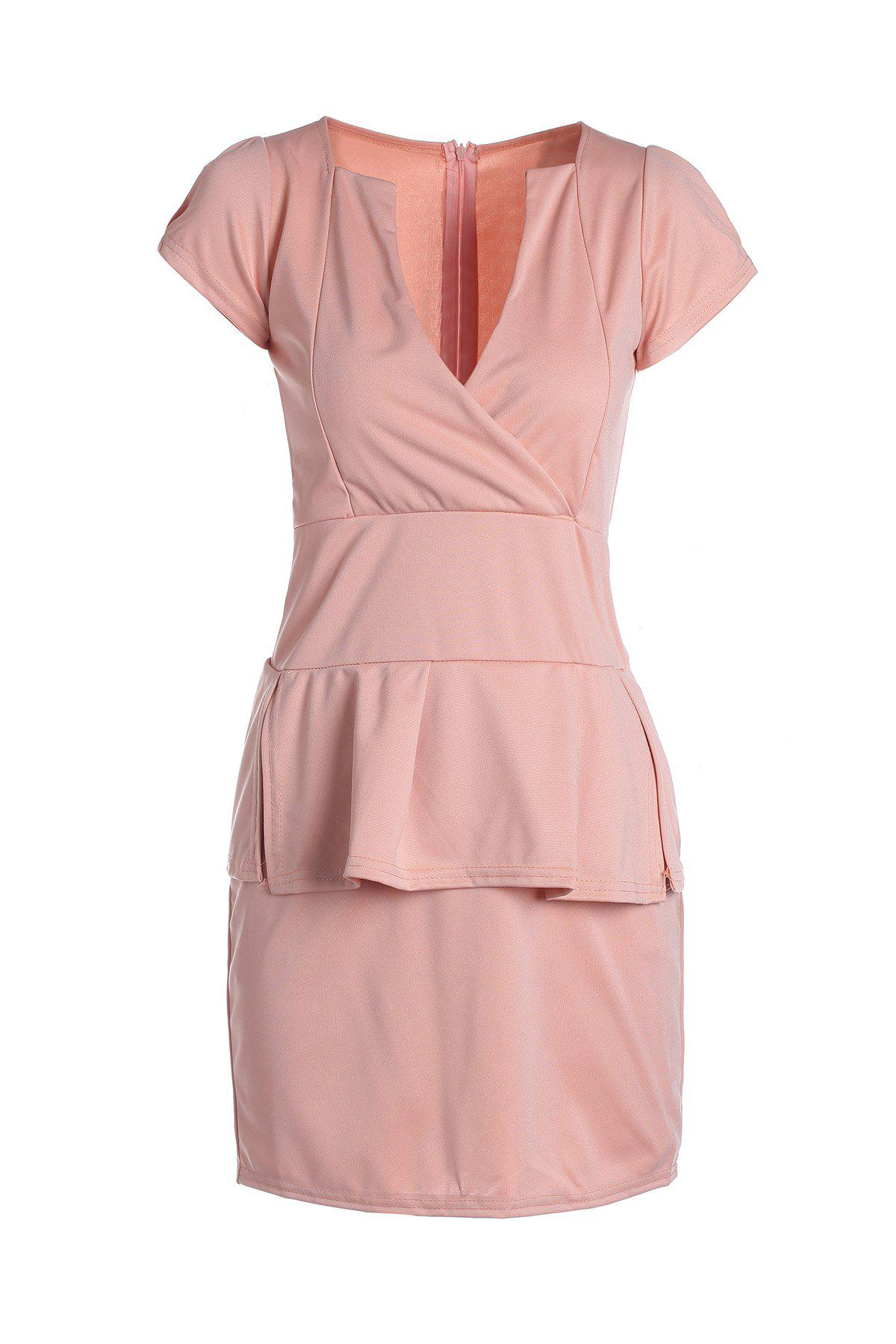 Women's Charming Plunging Neck Fold Short Sleeve Solid Color Dress