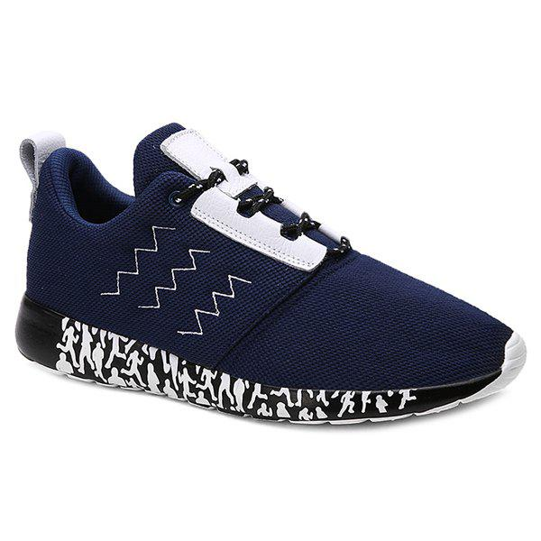 Stylish Mesh and Lacing Design Men's Athletic Shoes - DEEP BLUE 43