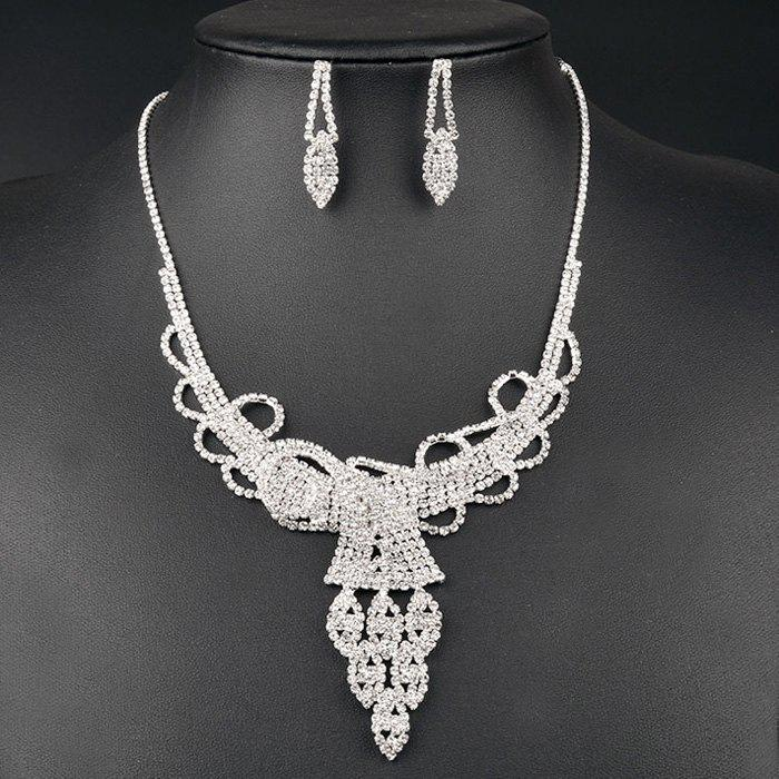 A Suit of Chic Style Rhinestoned Hollow Out Wedding Jewelry Set For Women - SILVER