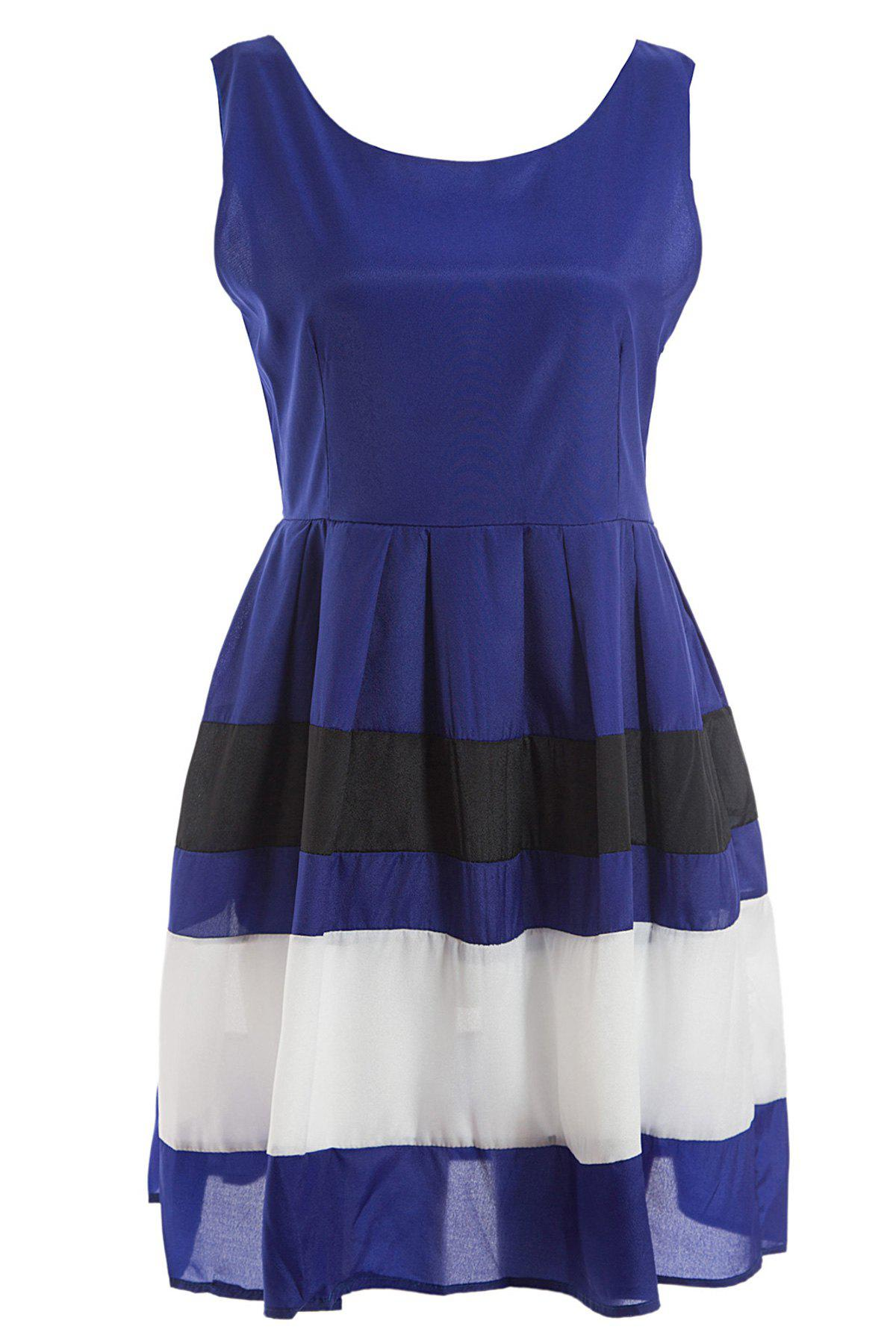 Sleeveless Sweet Color Matching Vintage Style Women's Dress