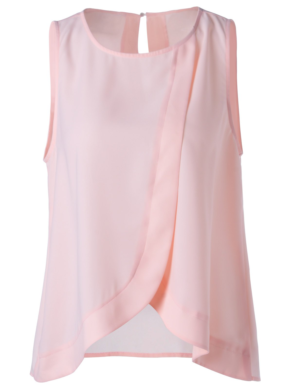 Sweet Scoop Neck Slimming Tulip Blouse For Women - LIGHT PINK M