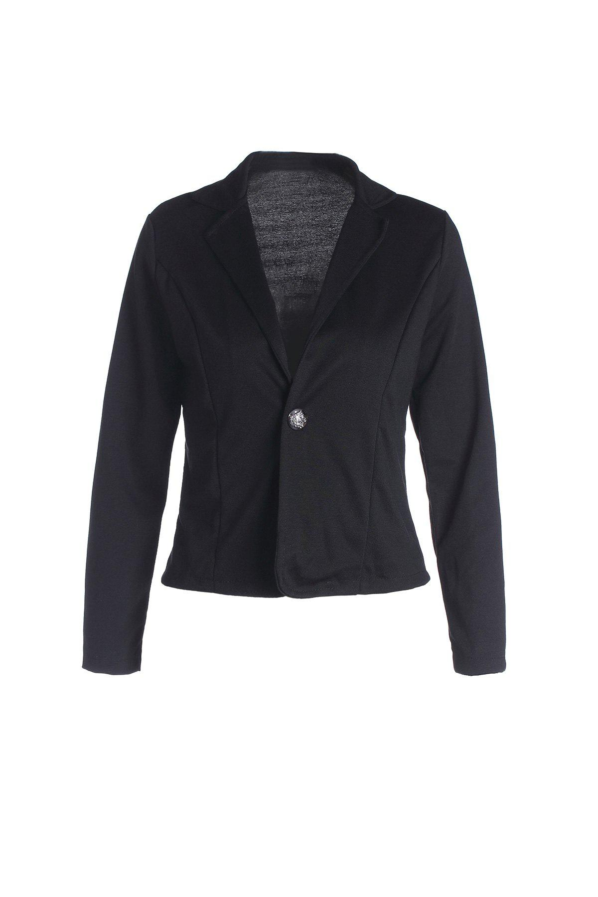 Casual Lapel Neck Solid Color Long Sleeve Plus Size Slimming Women's Blazer - BLACK L