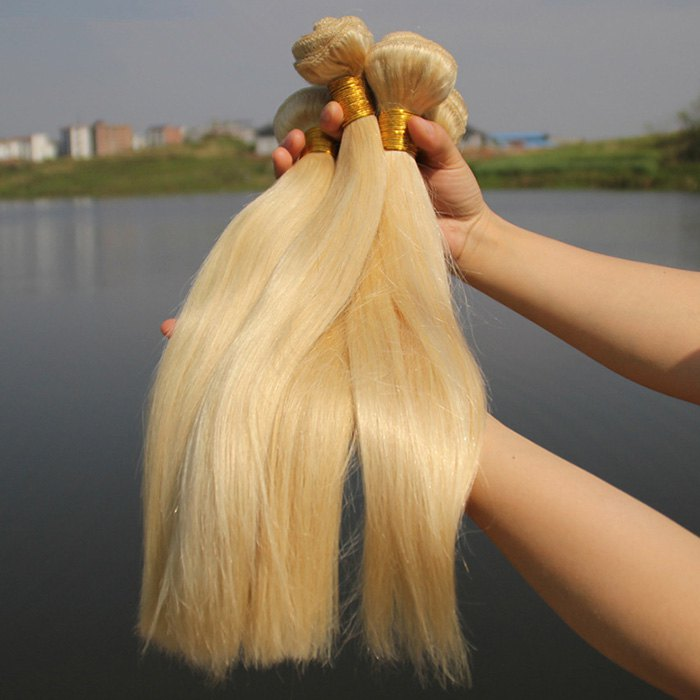 Women's Straight 1 Pcs 7A Virgin Hair Brazil Human Hair Weave - BLONDE 22INCH