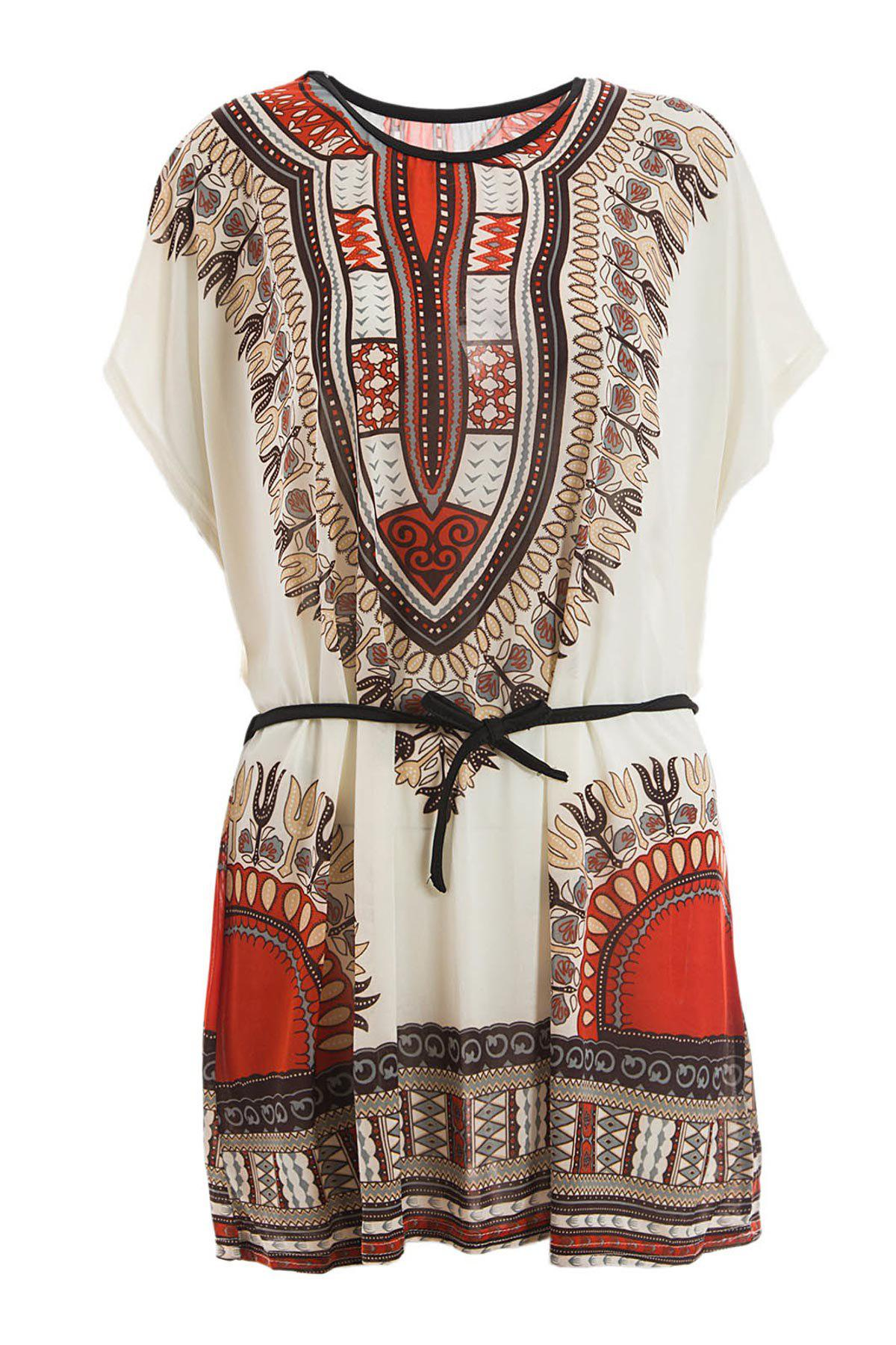 Batwing Sleeve Retro Style V-Neck Ethnic Pattern Dress For Women