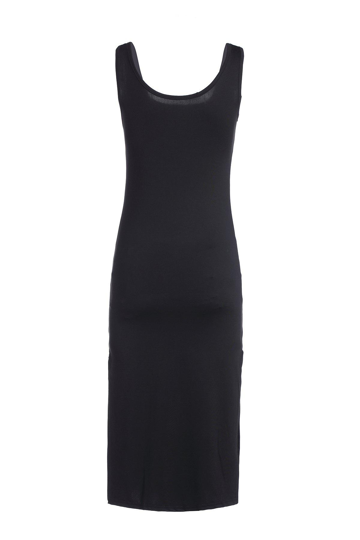 Sleeveless Brief Scoop Neck Slimming Solid Color Dress For Women - BLACK ONE SIZE