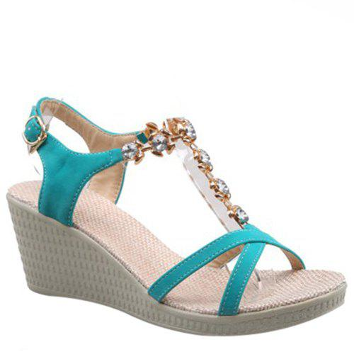 Casual Rhinestones and Wedge Heel Design Women's Sandals - LAKE GREEN 38