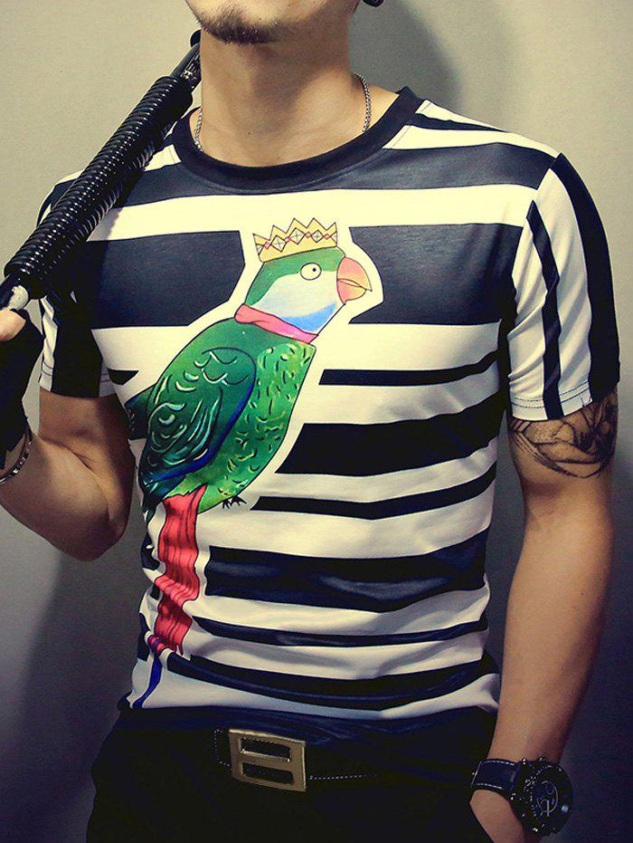 Crown Bird Print Striped Round Neck Short Sleeve Men's T-Shirt - COLORMIX 2XL