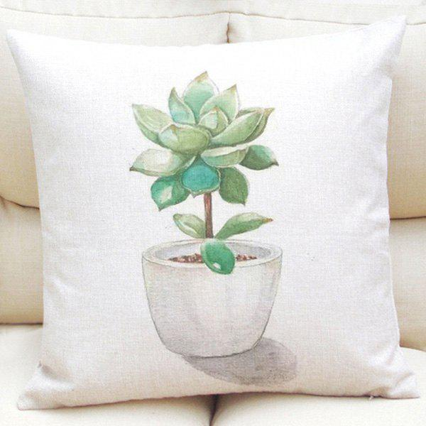 Creative Succulent Plants Bonsai Pattern Square Shape Flax Pillowcase (Without Pillow Inner) - LIGHT GREEN