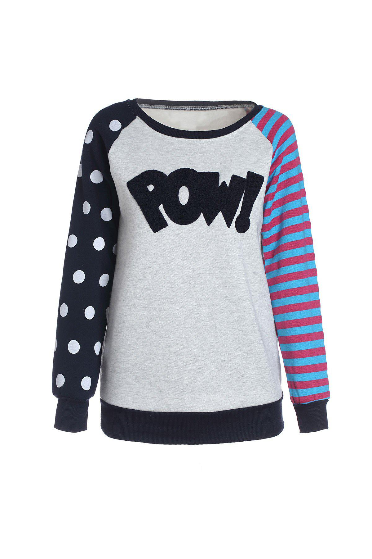 Casual Style Polka Dot Stripe Long Sleeve Women's T-Shirt - SAPPHIRE BLUE ONE SIZE