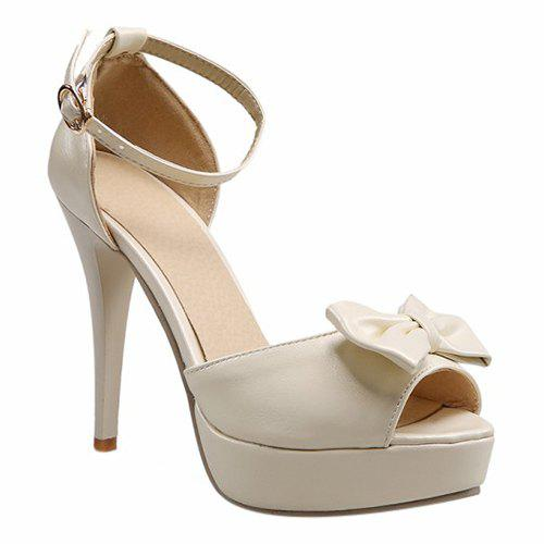 Trendy Bow and Ankle Strap Design Women's Sandals - OFF WHITE 39