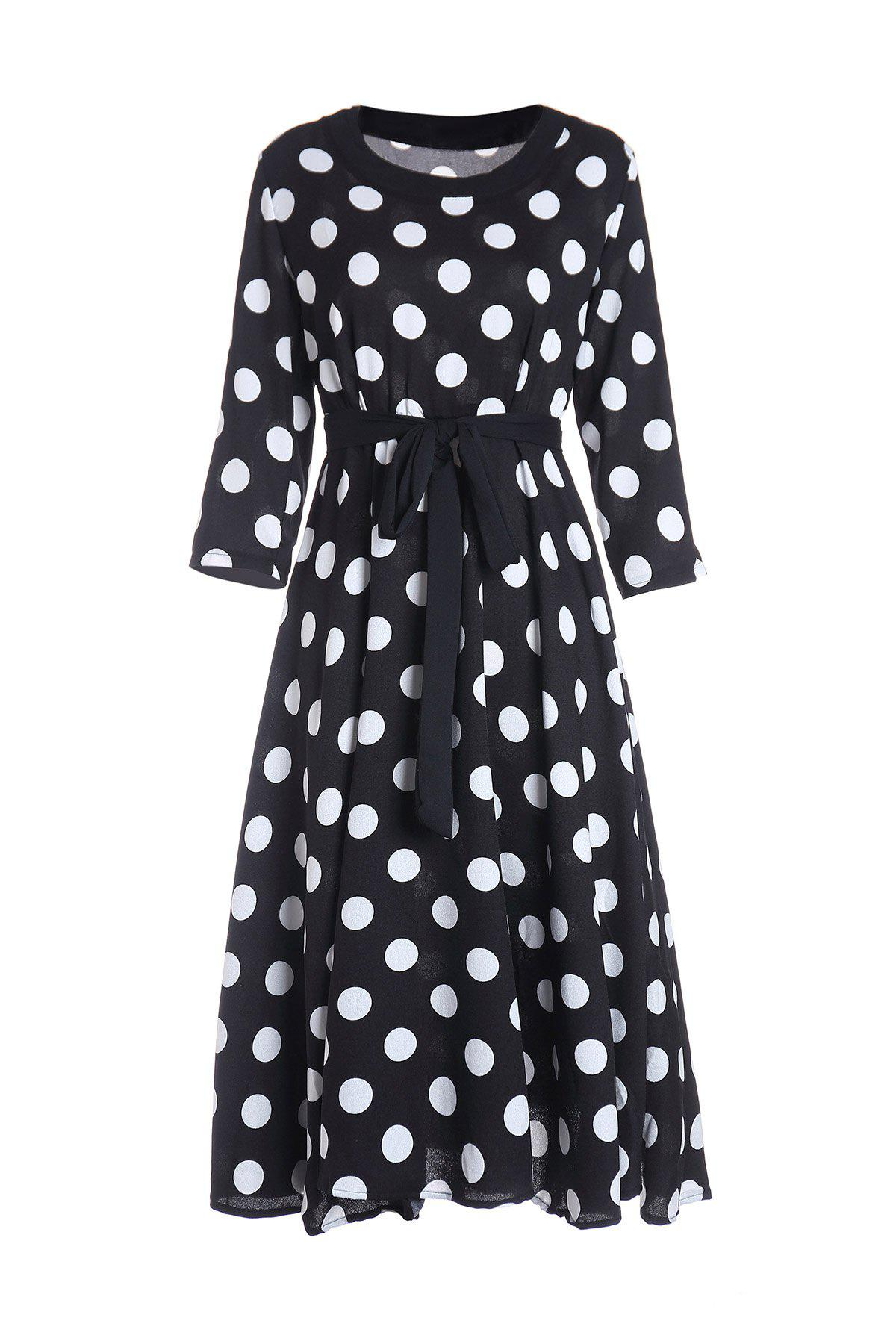 3/4 Sleeves Scoop Neck Polka Dot Pattern Ladylike Dress For Women - BLACK L