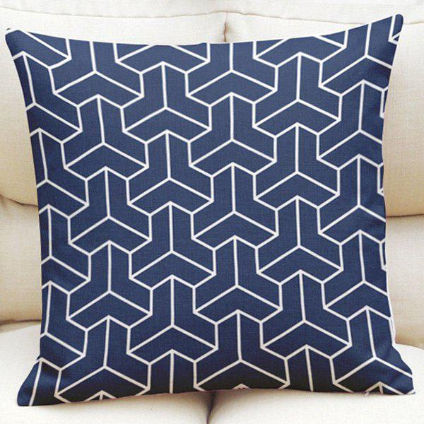 Traditional 3D Geometric Pattern Square Shape Flax Pillowcase (Without Pillow Inner) - CADETBLUE