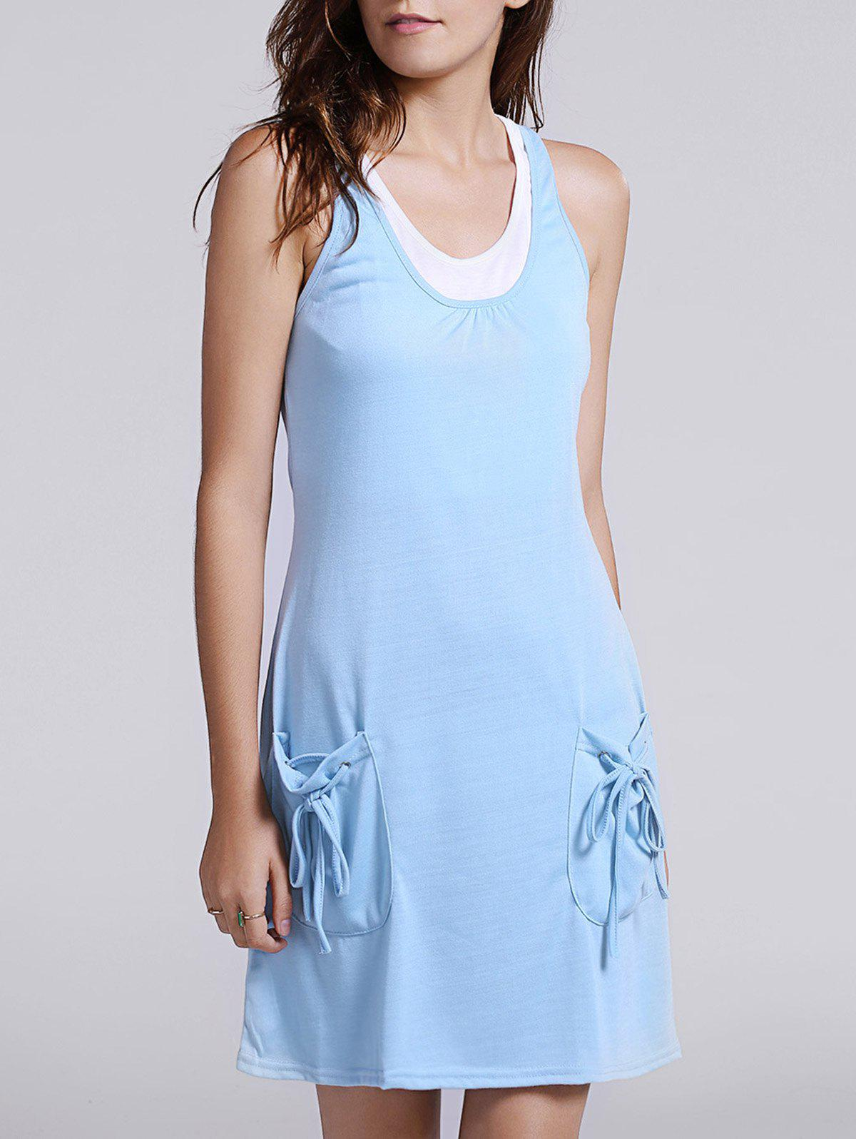 Casual Tank Top + Pocket Design U Neck Dress Women's Twinset - BLUE XL