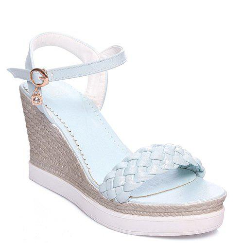 Stylish Rhinestone and Weaving Design Women's Sandals - LIGHT BLUE 36