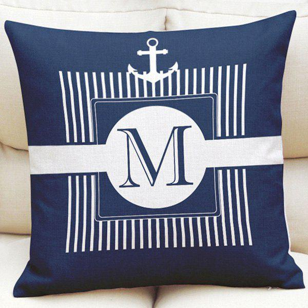 Ocean Style Striped Anchor Pattern Square Shape Pillowcase (Without Pillow Inner) - NAVY BLUE