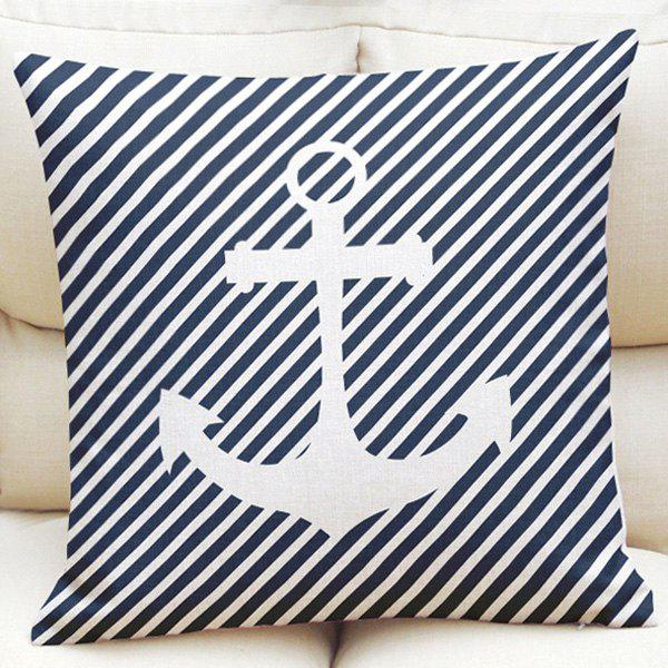 Ocean Style Oblique Striped Anchor Pattern Square Shape Pillowcase (Without Pillow Inner) - PURPLISH BLUE