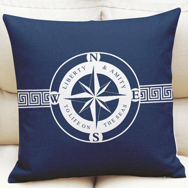 Ocean Style Compass Pattern Square Shape Pillowcase (Without Pillow Inner) - NAVY BLUE