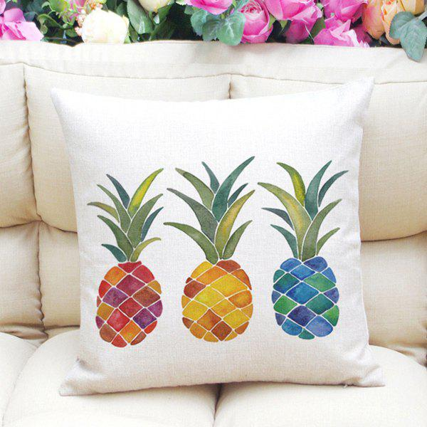 New Style Colorful Pineapples Pattern Square Shape Flax Pillowcase (Without Pillow Inner) - WHITE