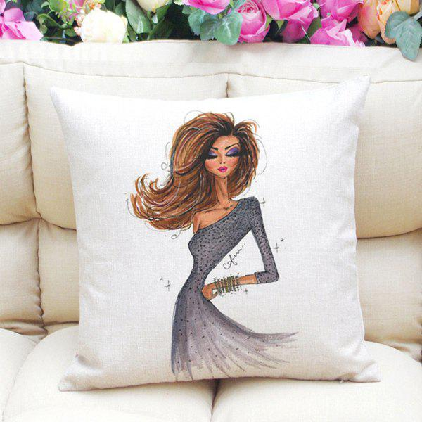 Fashion Girl Pattern Square Shape Linen Pillowcase (Without Pillow Inner) - COLORMIX