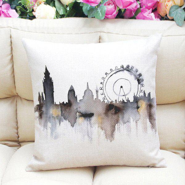 Stylish Ferris Wheel Pattern Square Shape Flax Pillowcase (Without Pillow Inner) - COLORMIX