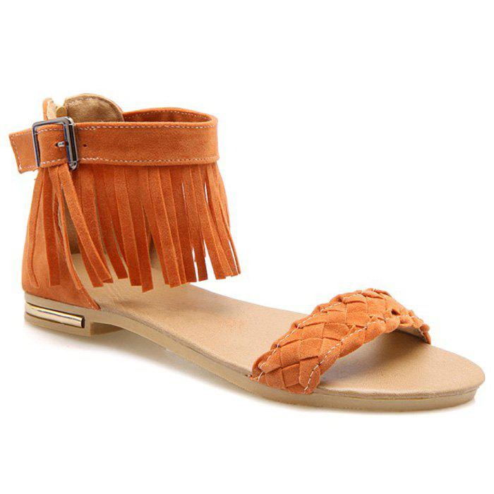 Casual Waving and Fringe Design Women's Sandals - ORANGE 36