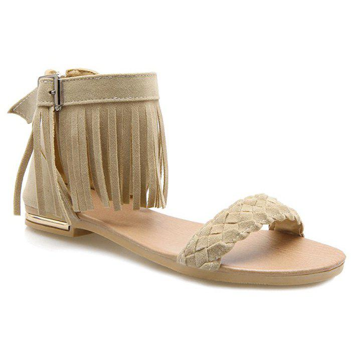 Casual Waving and Fringe Design Women's Sandals - OFF WHITE 36