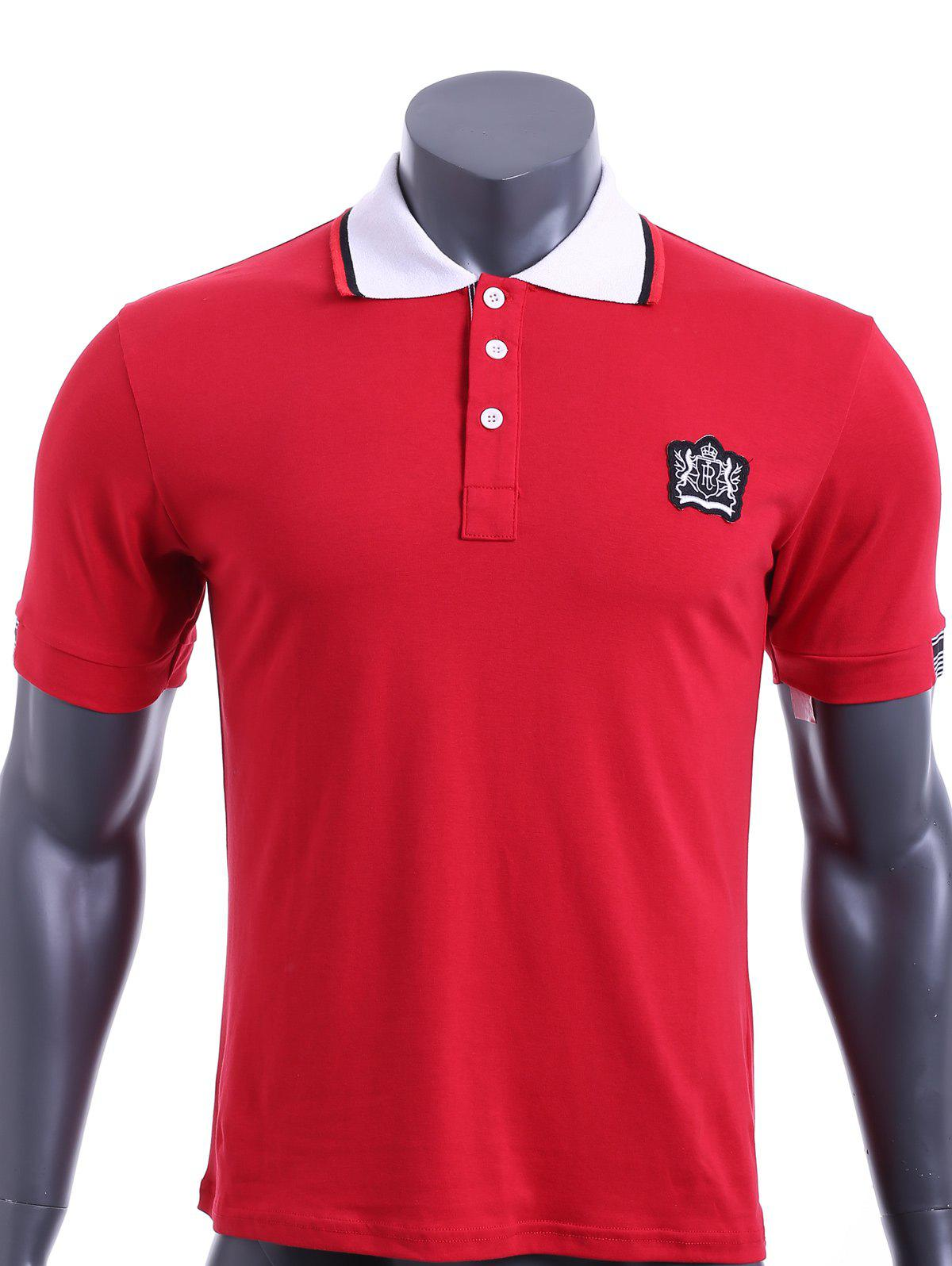 Color Block Turn-down Collar Embroidered Applique Short Sleeves Men's Polo T-Shirt - 2XL RED