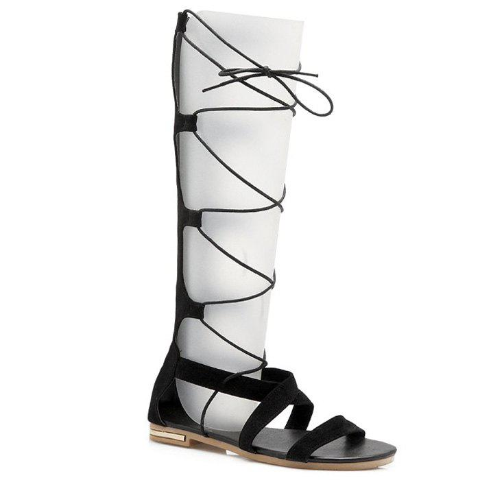 Leisure Lace-Up and Cross Straps Design Women's Sandals - BLACK 39