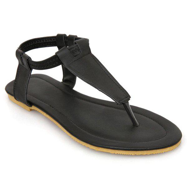 Leisure Elastic Band and Solid Colour Design Women's Sandals - BLACK 39