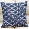 Ethnic Style Clouds Pattern Square Shape Flax Pillowcase (Without Pillow Inner) - PURPLISH BLUE