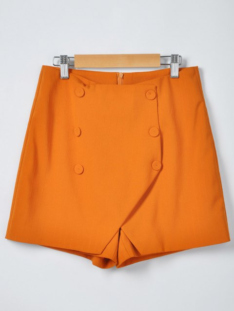 Women's Stylish Solid Color Irregular Shorts - ORANGE M