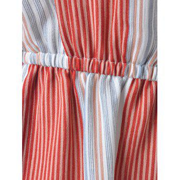 Women's Fashionable Striped Jumpsuits - BLUE/RED L