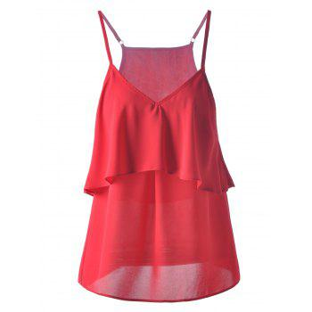 Fashionable Chiffon Flounce Spaghetti Strap Top For Women