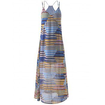 Spaghetti Strap Long Striped Dress For Women