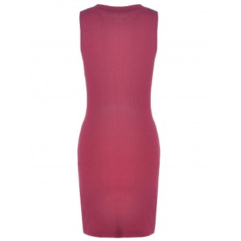 Fashionable Sleeveless Pure Color Skinny Knotted Women's Dress - WINE RED L