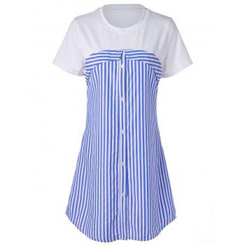 Stripe Short Sleeve Dress - STRIPE L