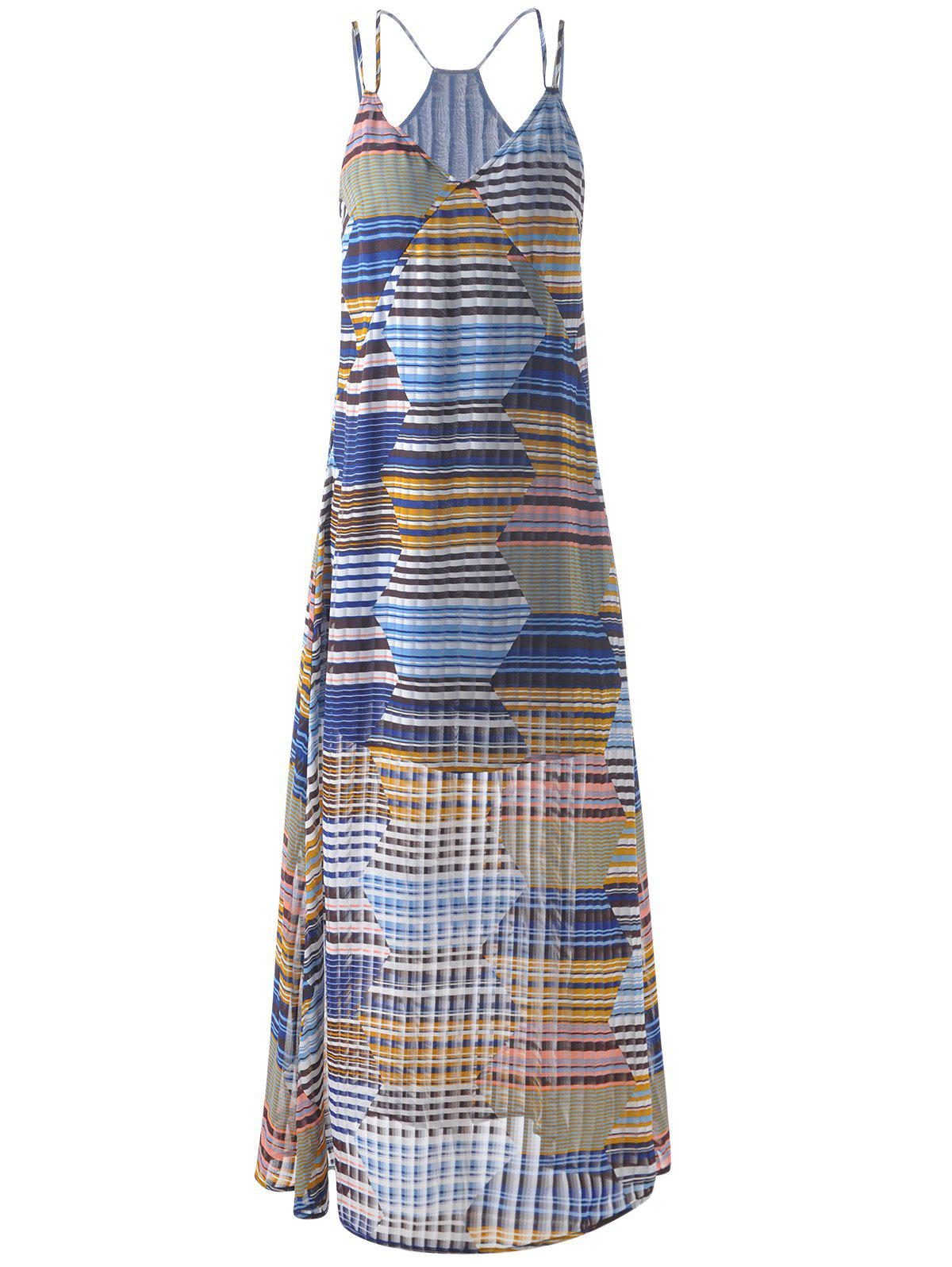 Spaghetti Strap Long Striped Dress For Women - GREY/WHITE/BLUE S