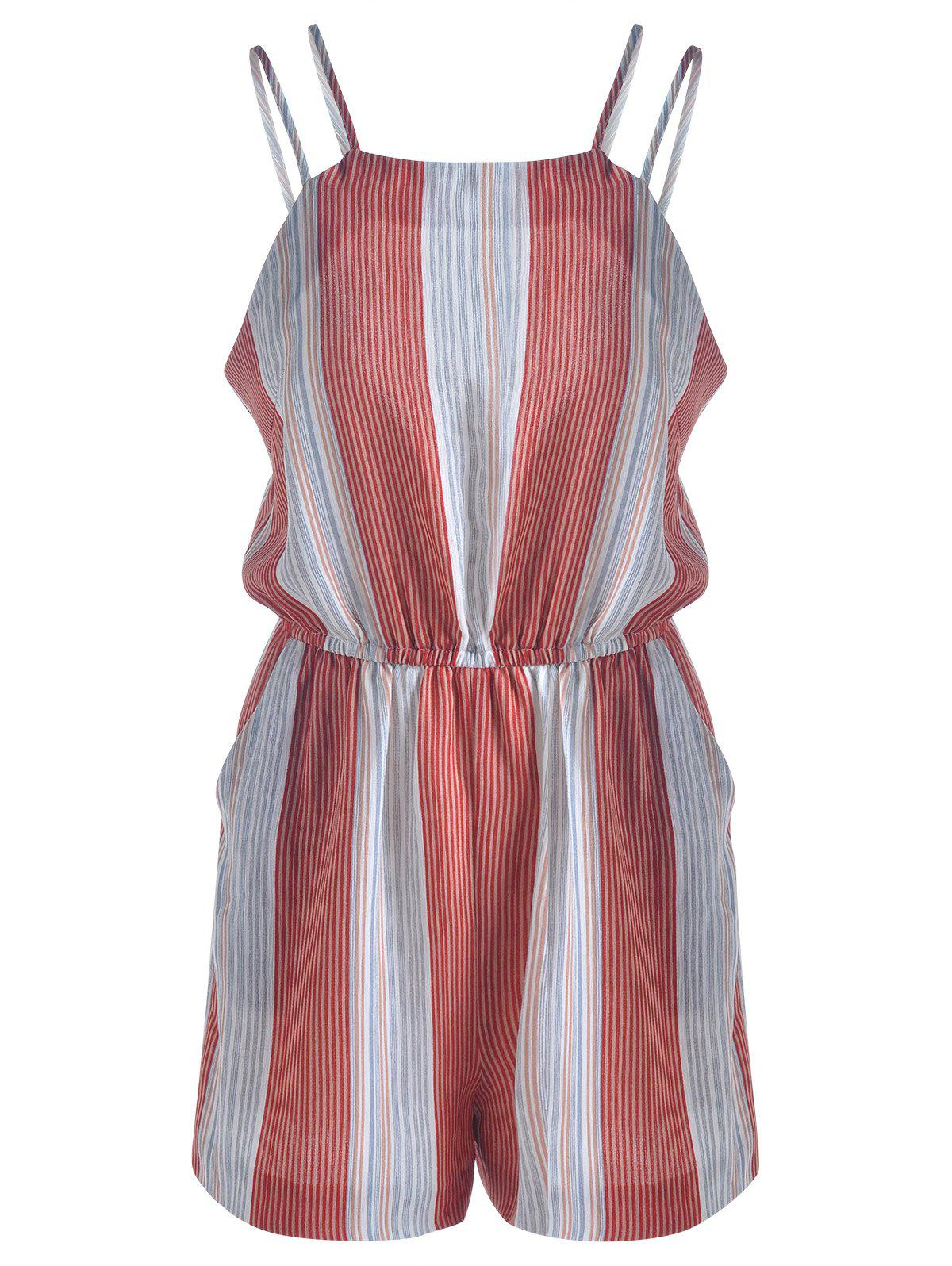 Women's Fashionable Striped Jumpsuits - BLUE/RED S