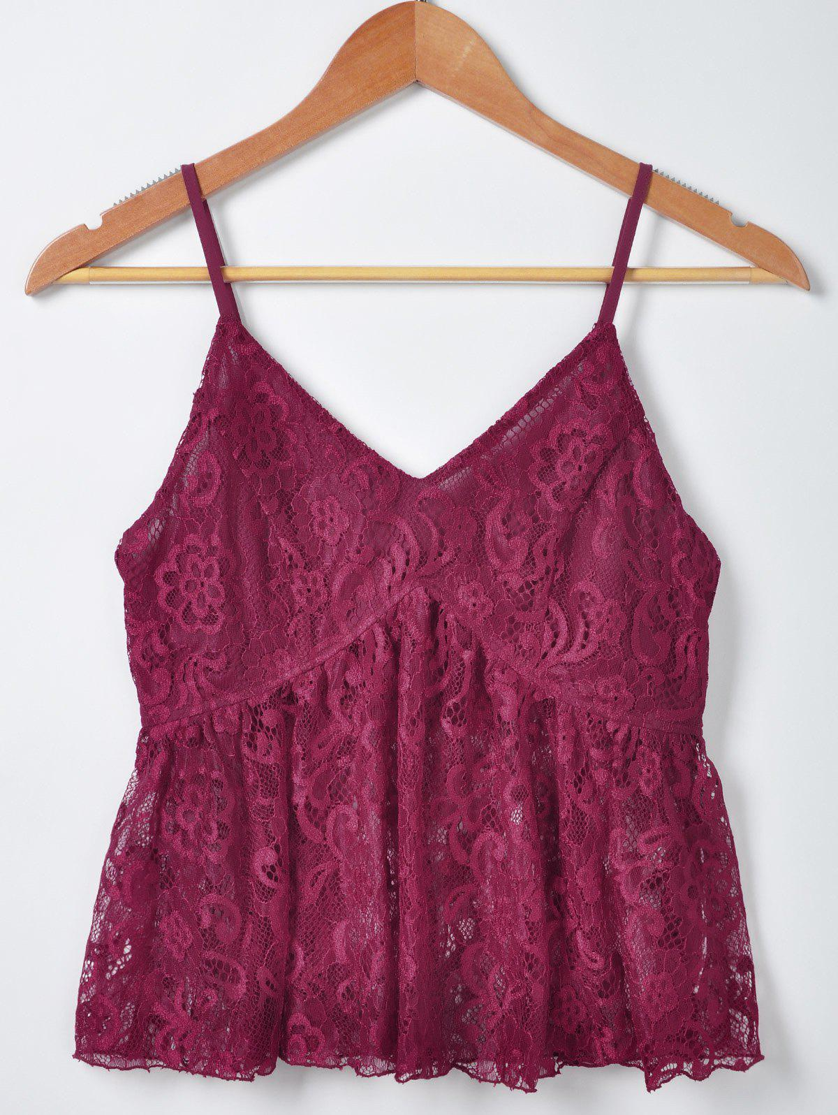 Women's Stylish Solid Color Lace Tank Top - WINE RED S