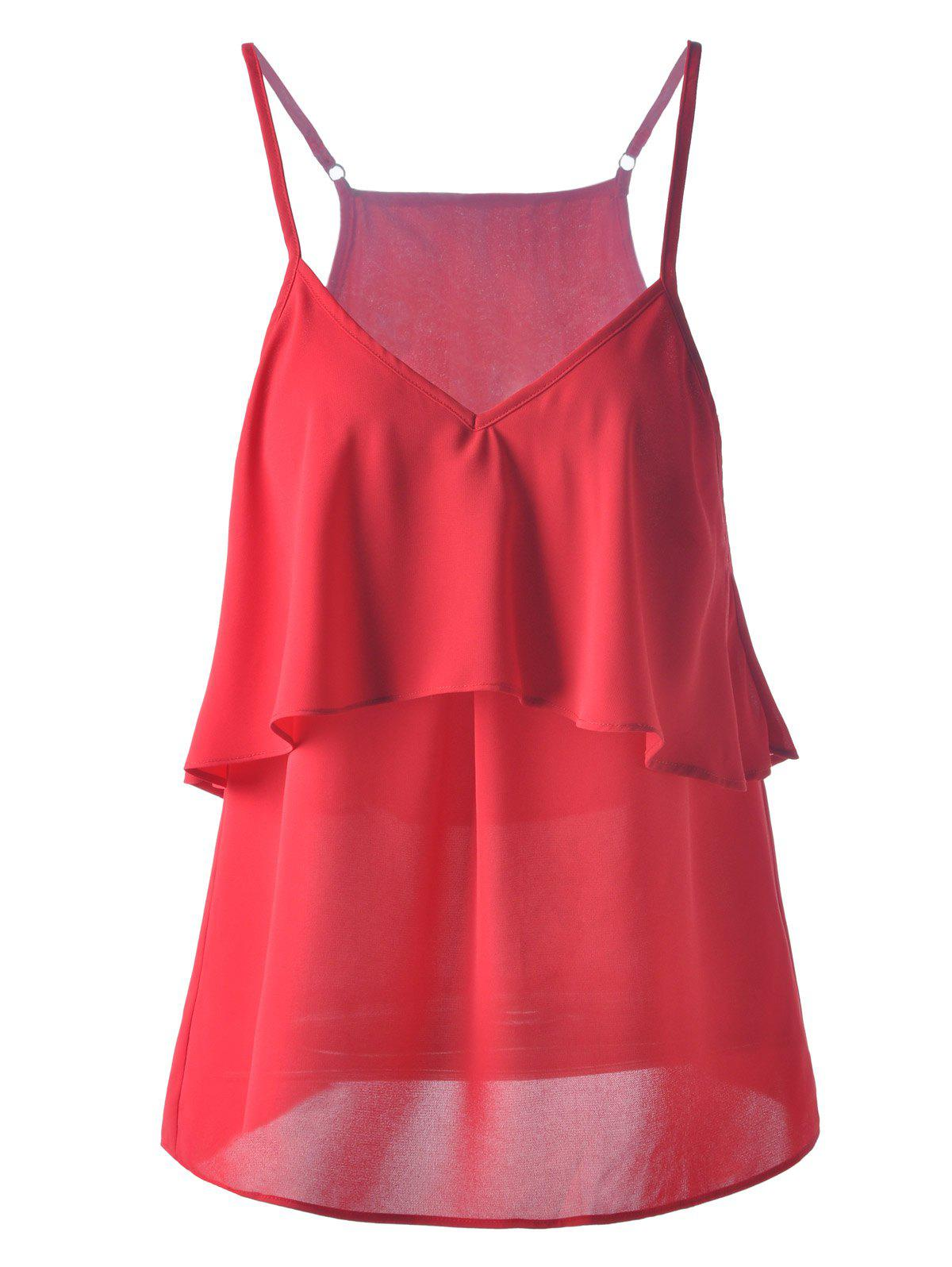 Fashionable Chiffon Flounce Spaghetti Strap Top For Women - DARK RED S