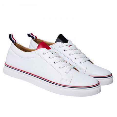 Simple Lace-Up and White Design Men's Casual Shoes - WHITE 42