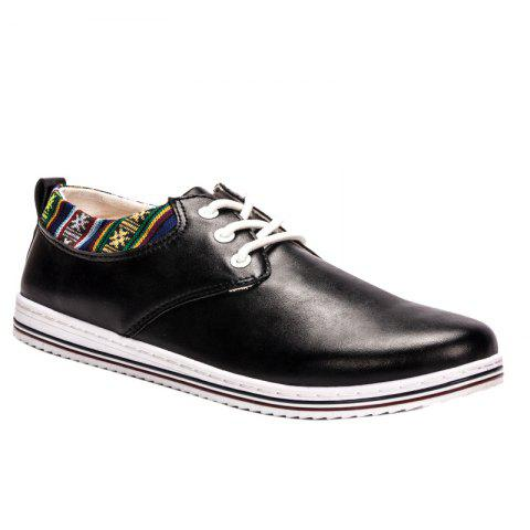 Trendy Tribal Print and Lace-Up Design Men's Casual Shoes - BLACK 44